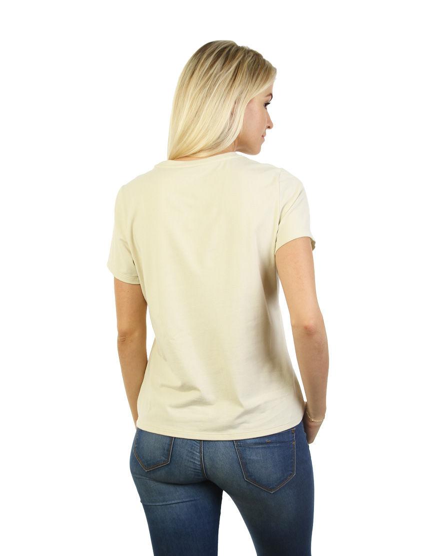 poly cotton womens t shirt beige back