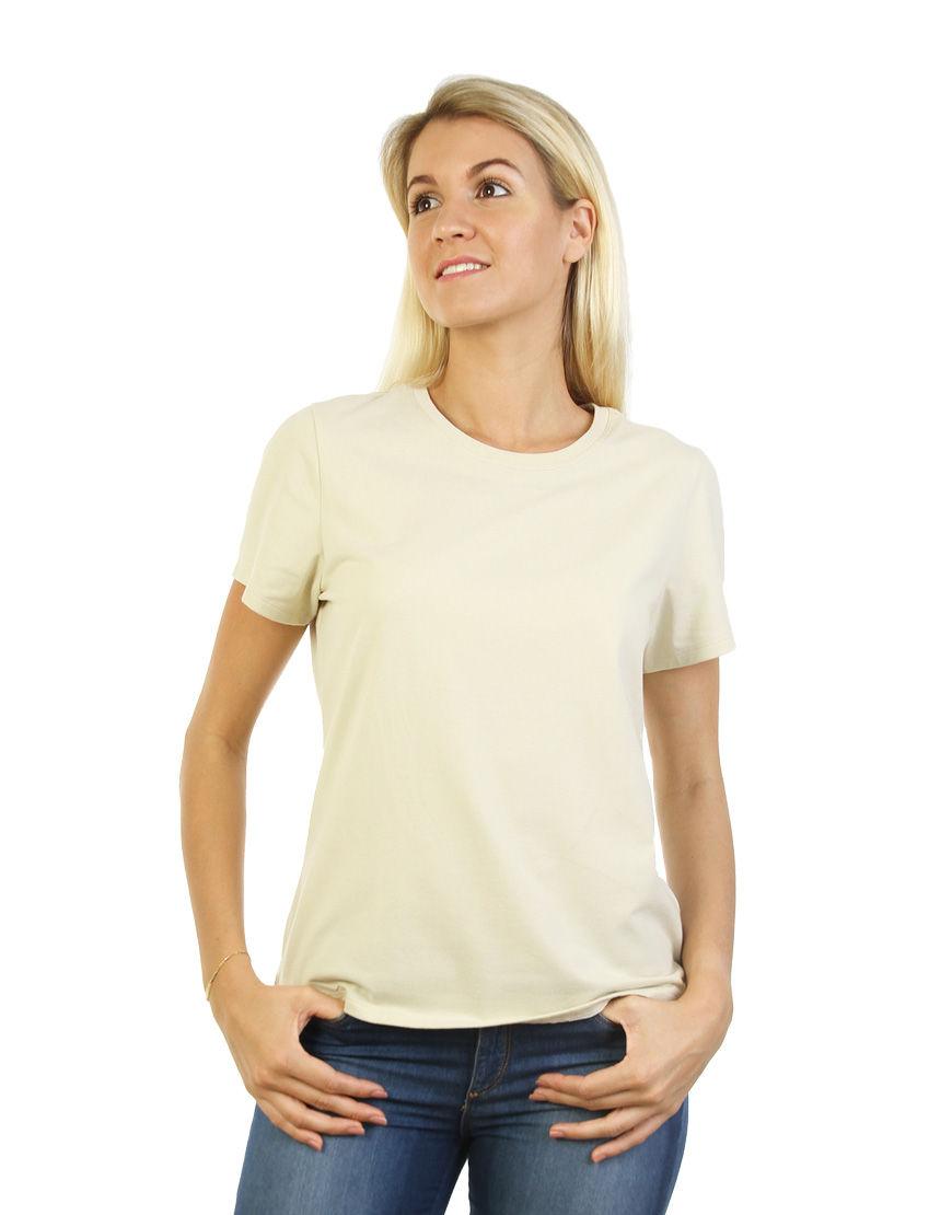 poly cotton womens t shirt beige