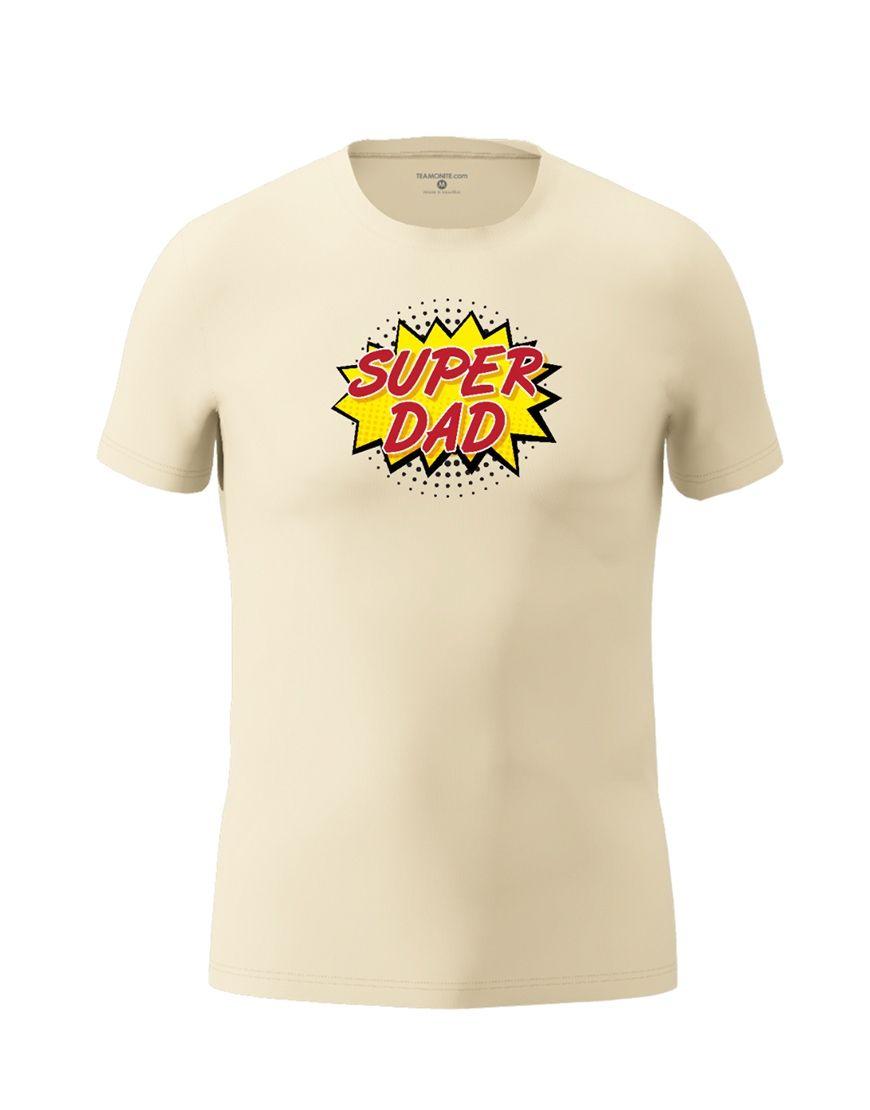 super dad t shirt beige