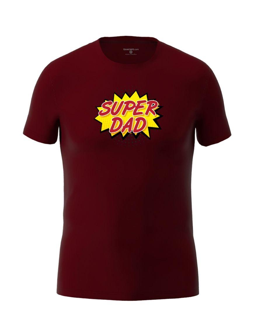 super dad t shirt burgundy
