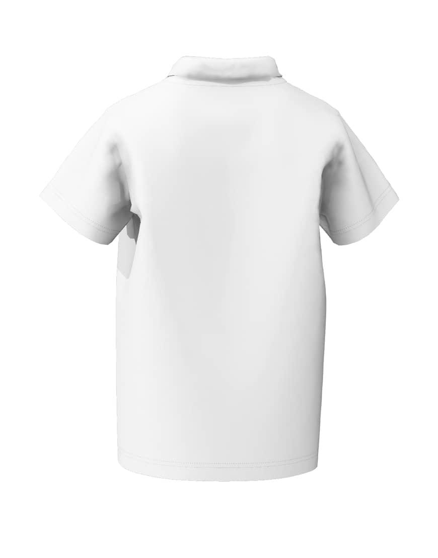 unisex kids 3d polo white back