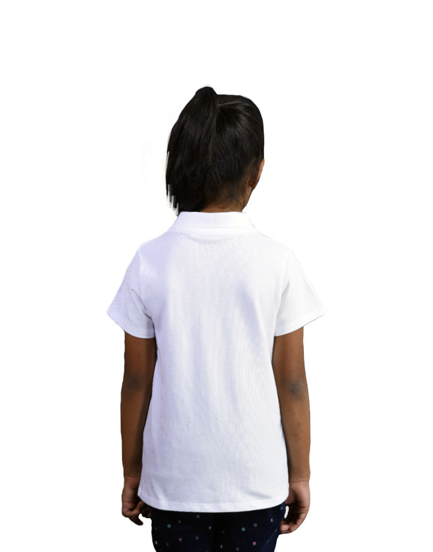 unisex kids polo girl white back