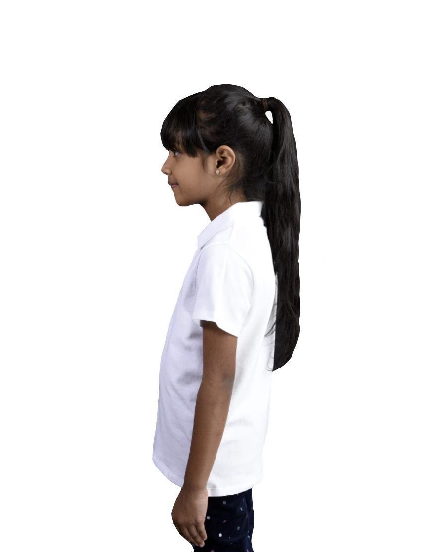 unisex kids polo girl white left