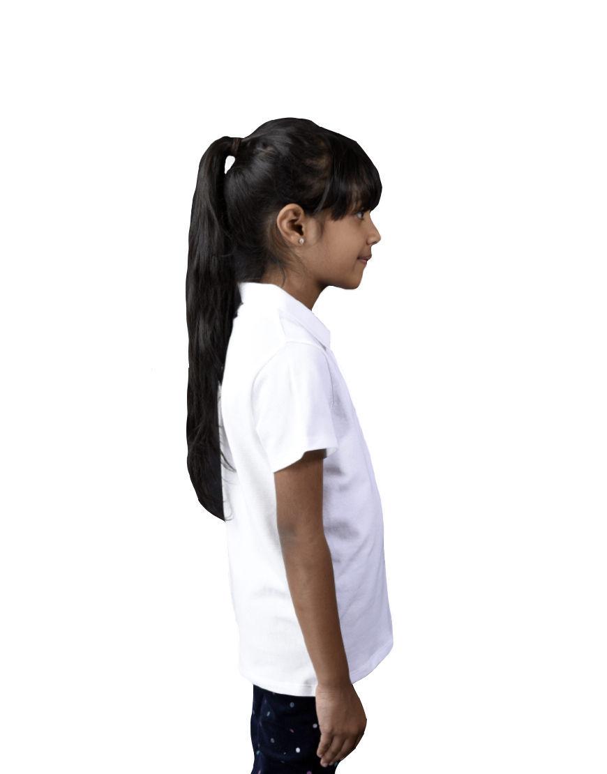 unisex kids polo girl white right