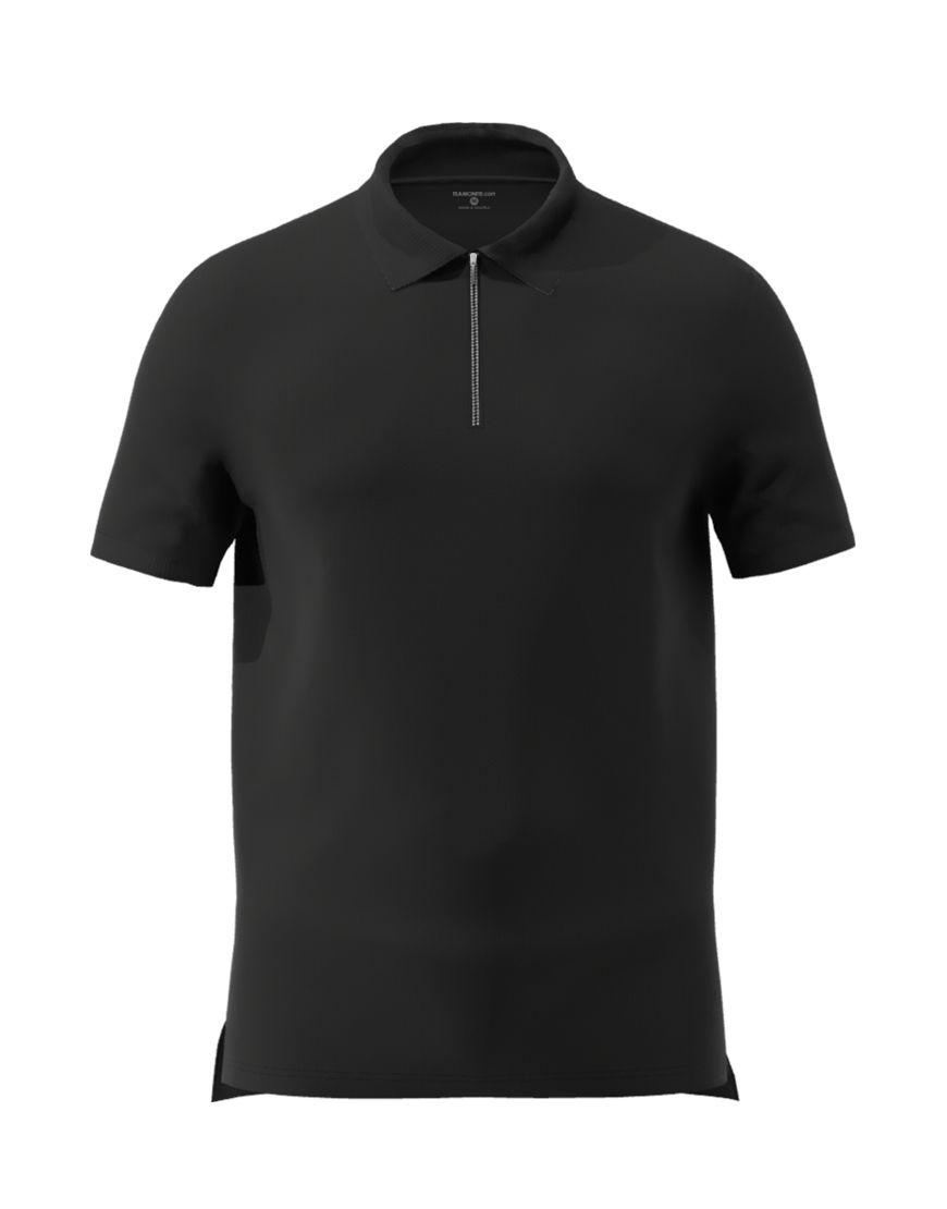 unisex polo with zipper 3d black