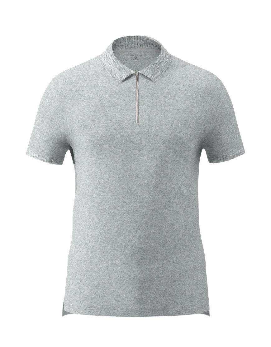 unisex polo with zipper 3d grey