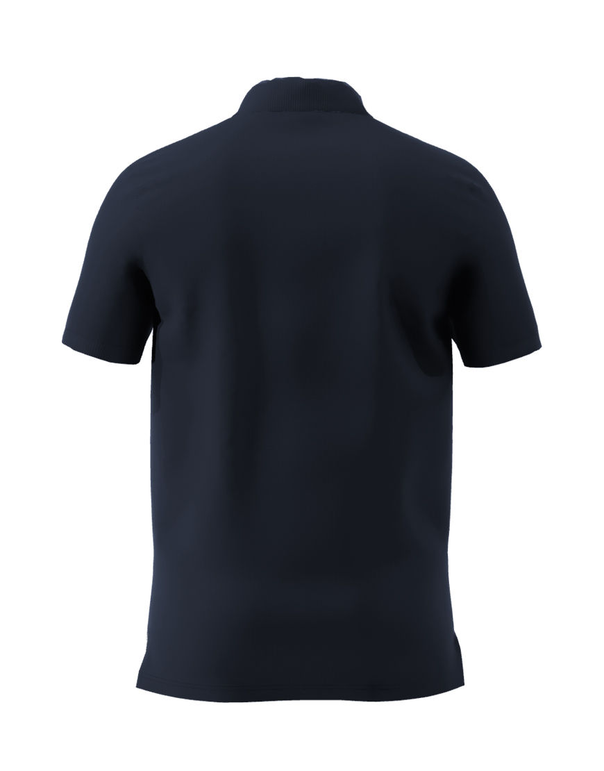 unisex polo with zipper 3d navy back