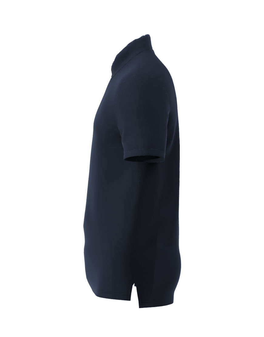 unisex polo with zipper 3d navy left