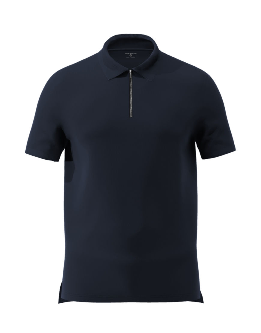 unisex polo with zipper 3d navy