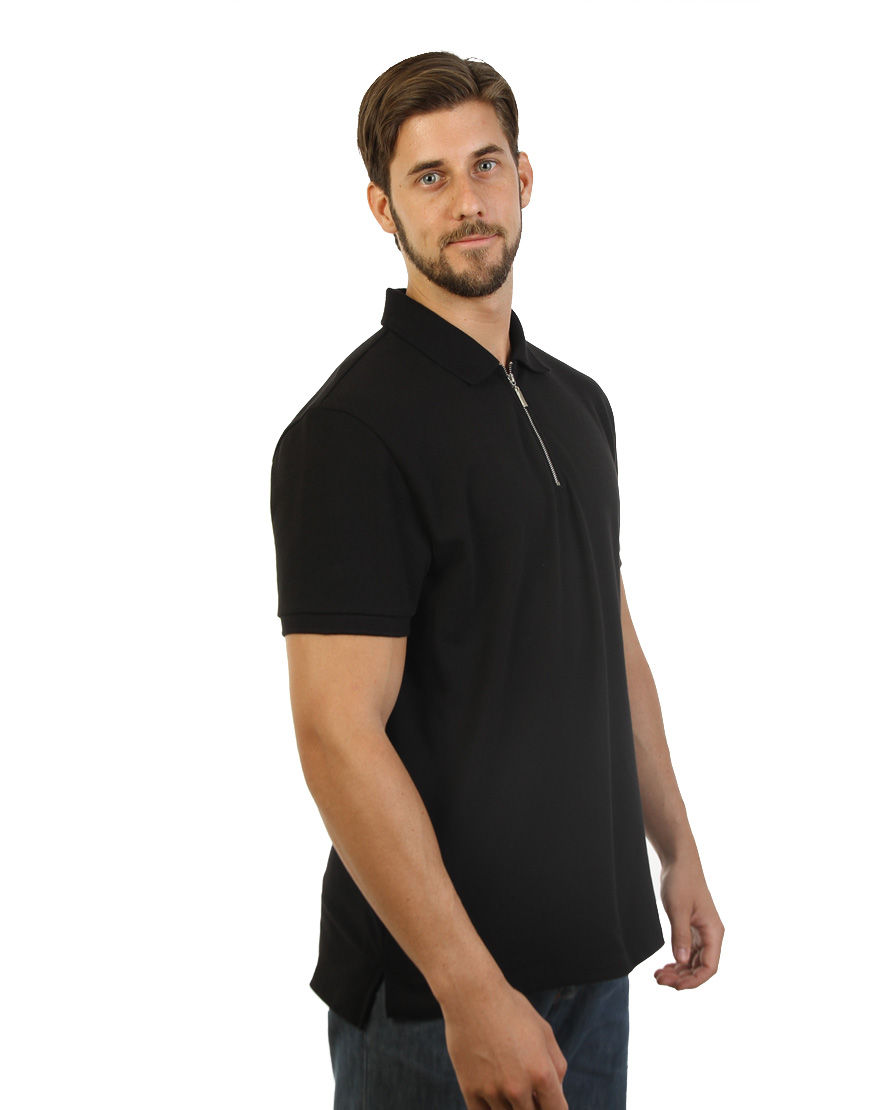 unisex polo with zipper black right