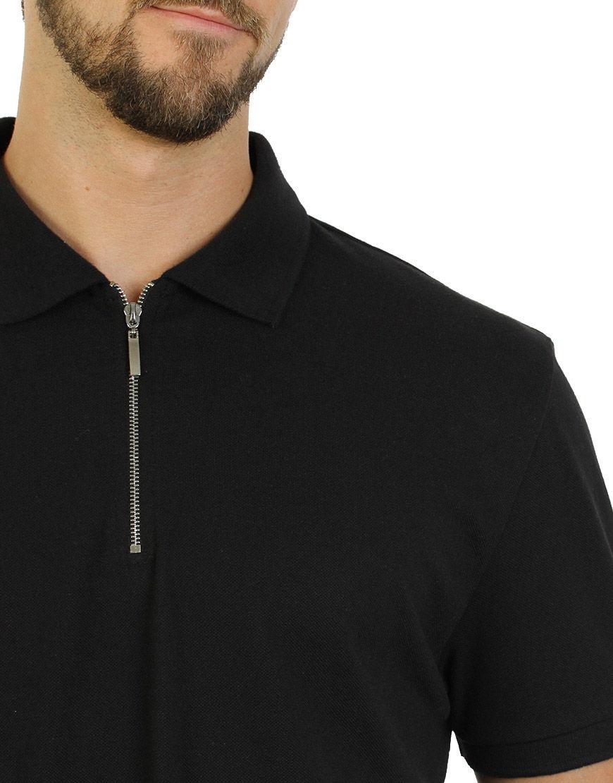 unisex polo with zipper black sleeve