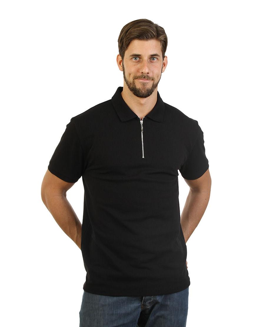 unisex polo with zipper black