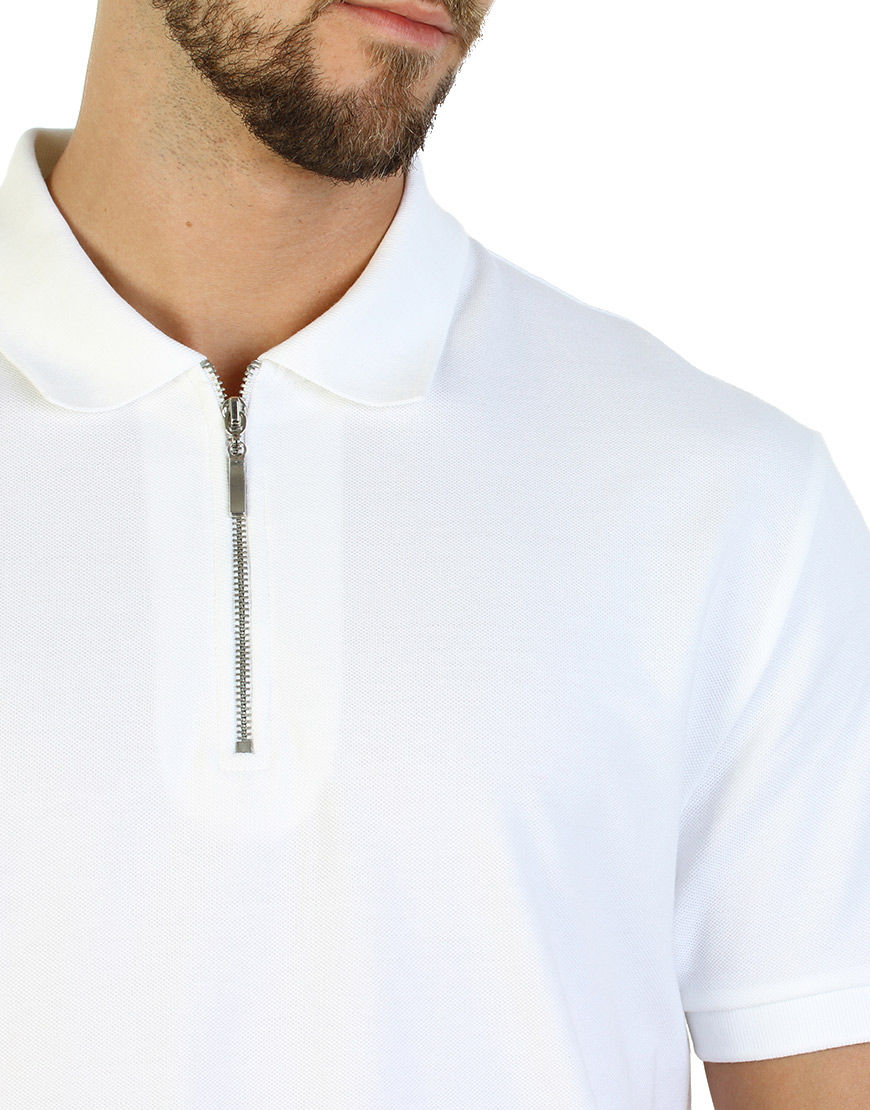 unisex polo with zipper white colloar
