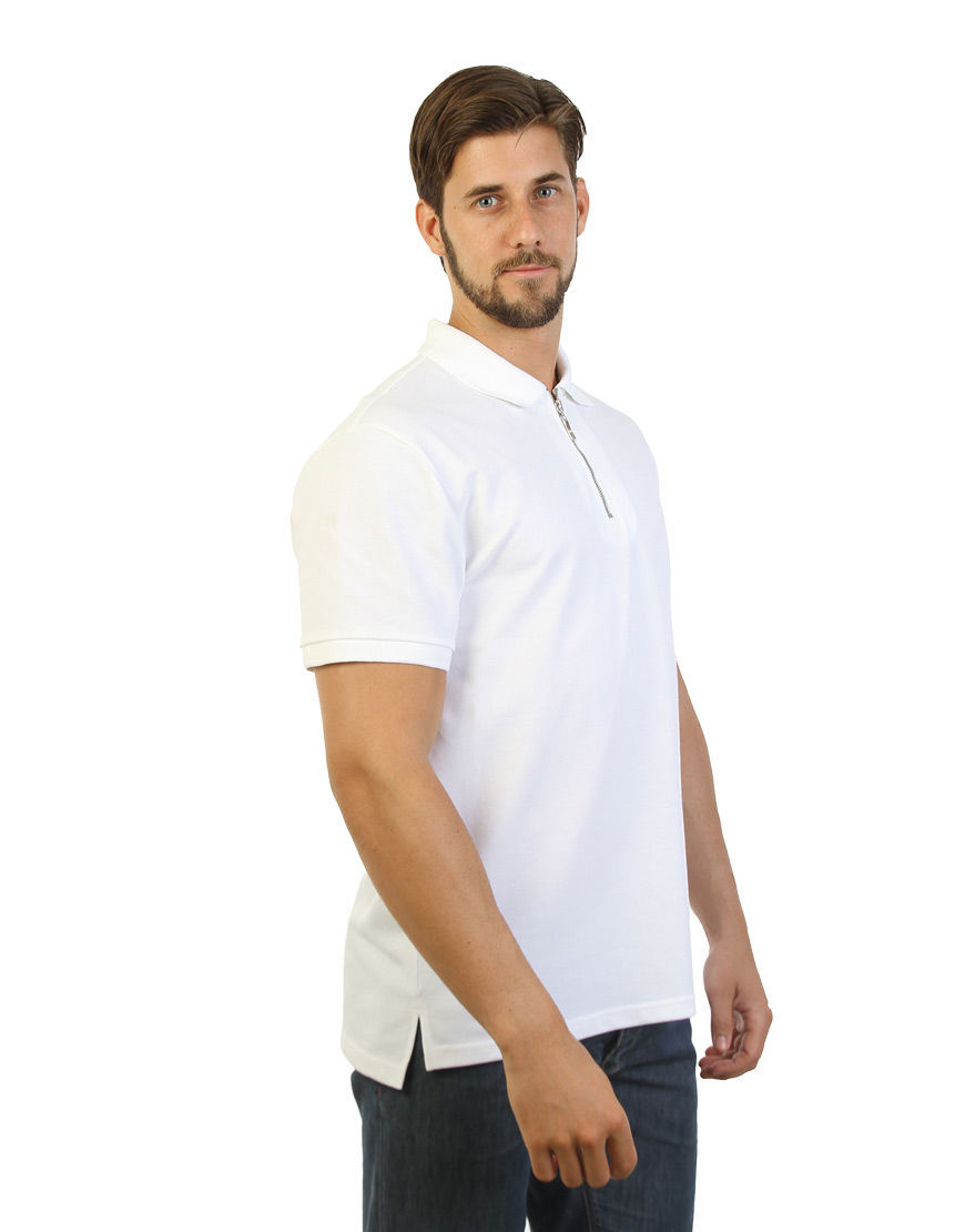 unisex polo with zipper white right