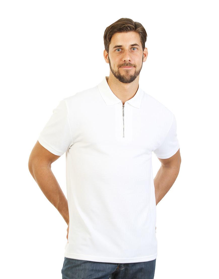 unisex polo with zipper white