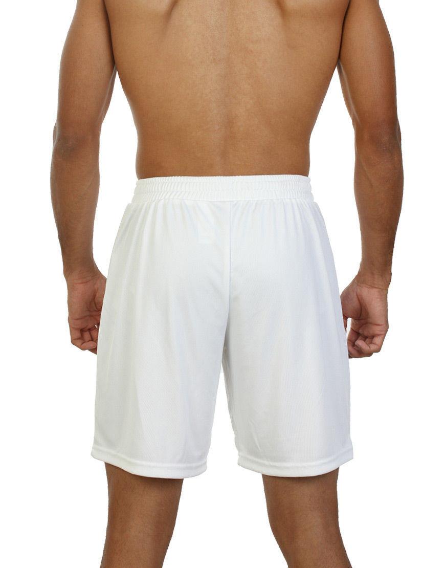 unisex sport shorts men white back