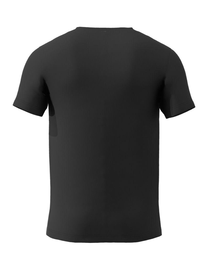 v neck men 3d t shirt black back
