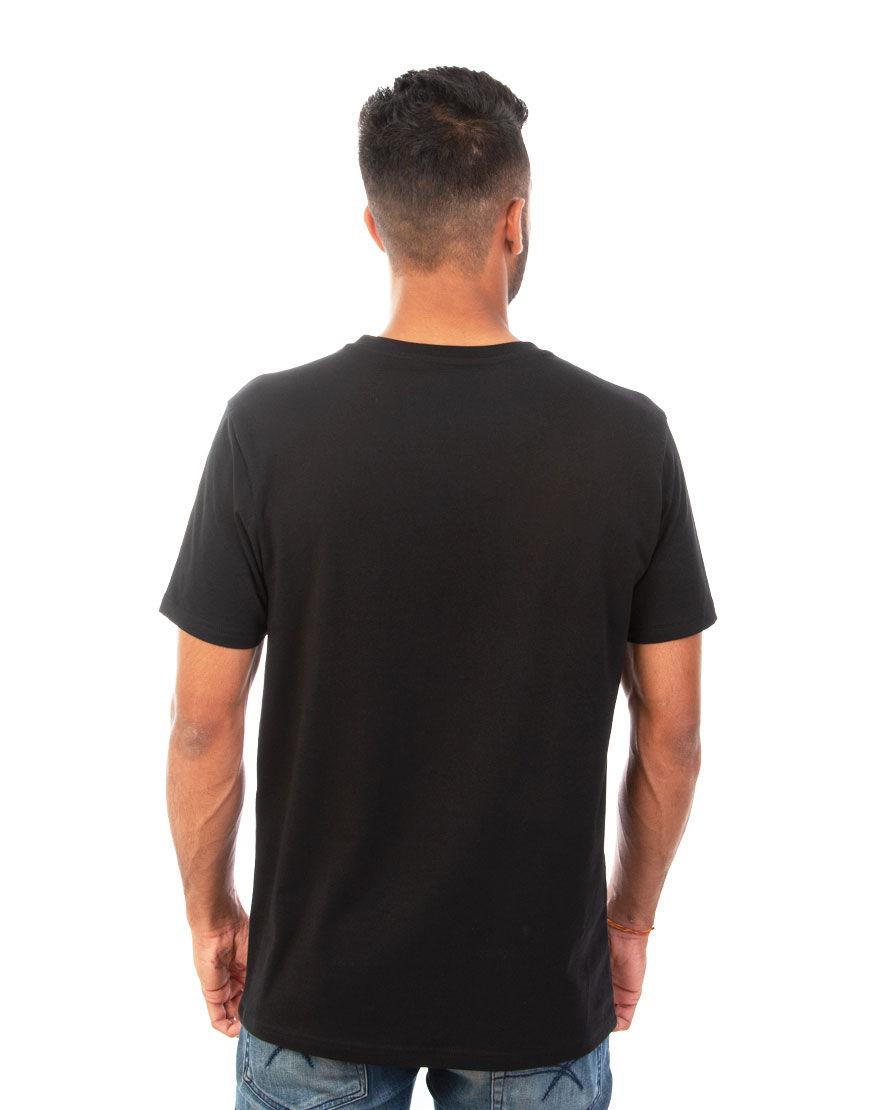 v neck men t shirt black back