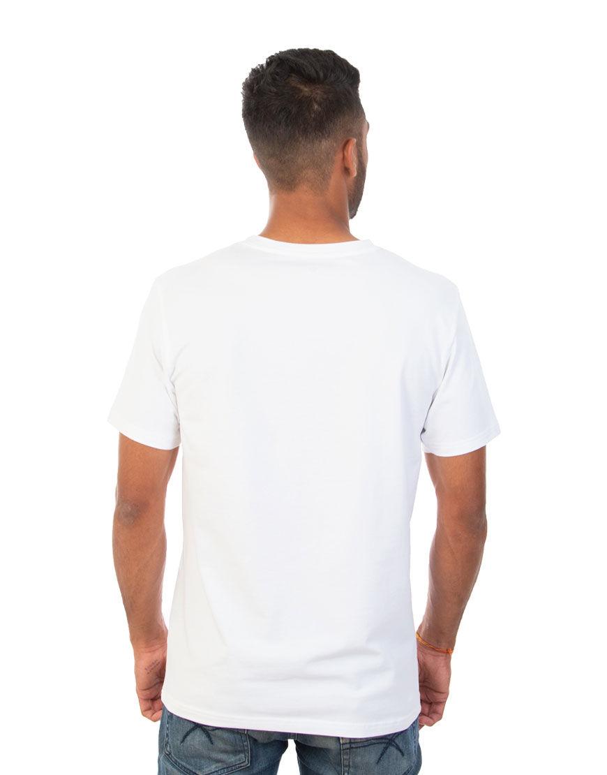 v neck men t shirt white back