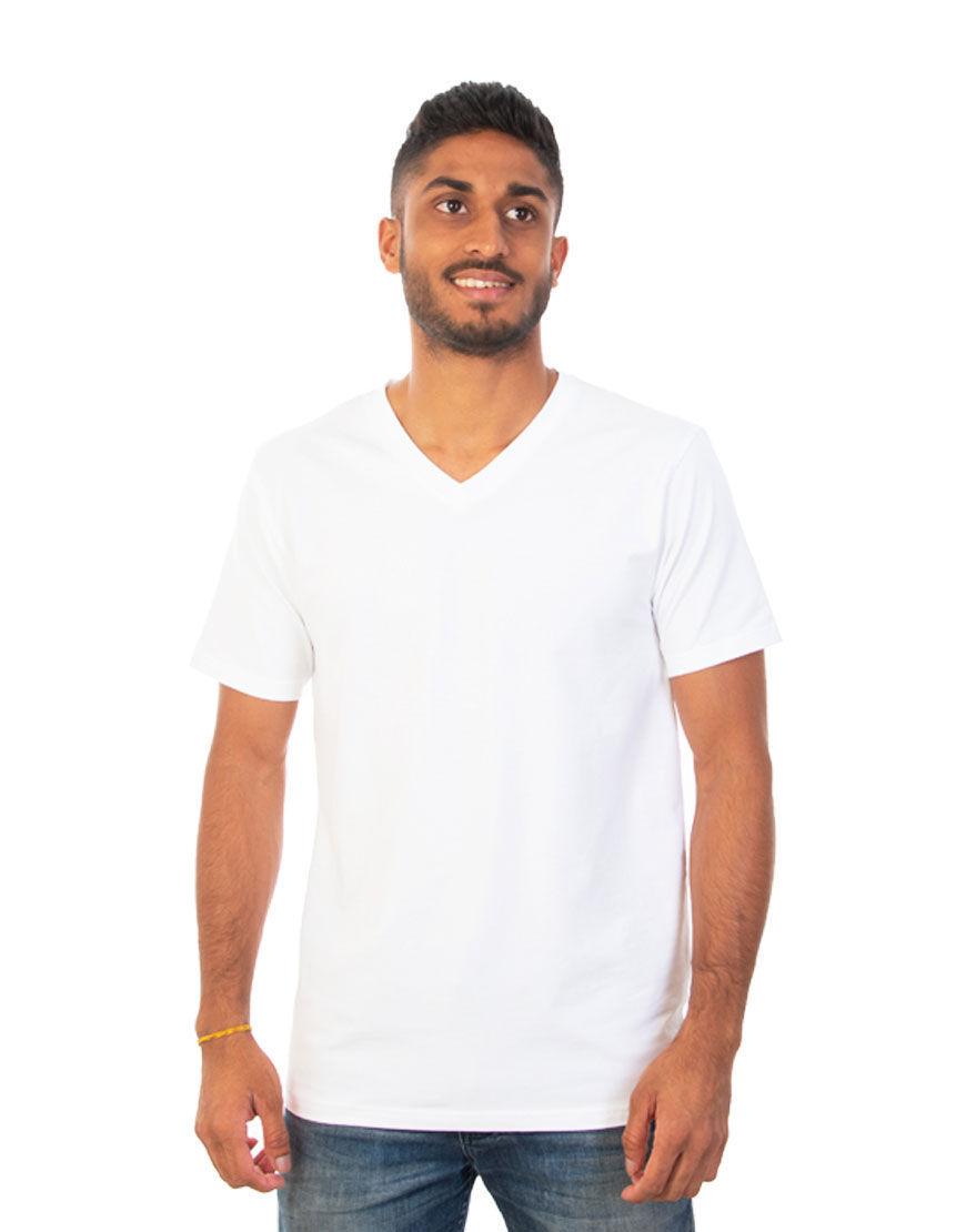 v neck men t shirt white front