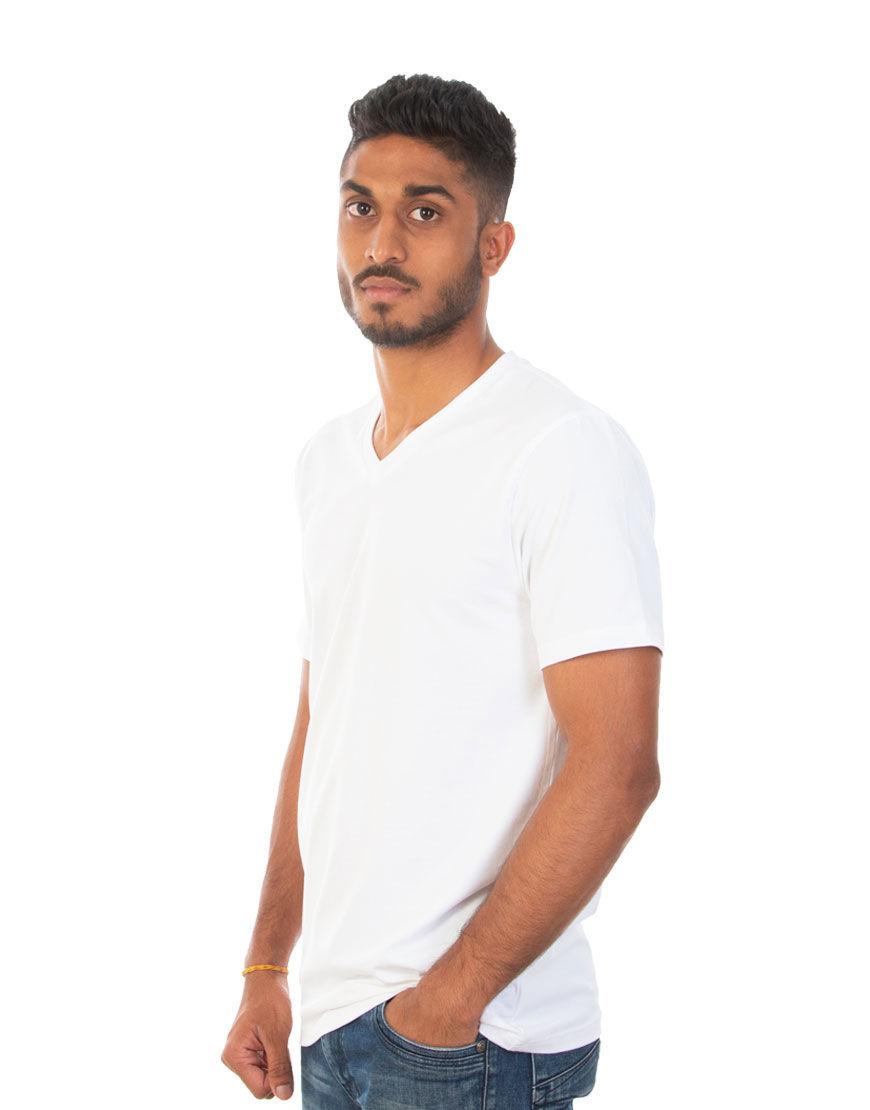 v neck men t shirt white left