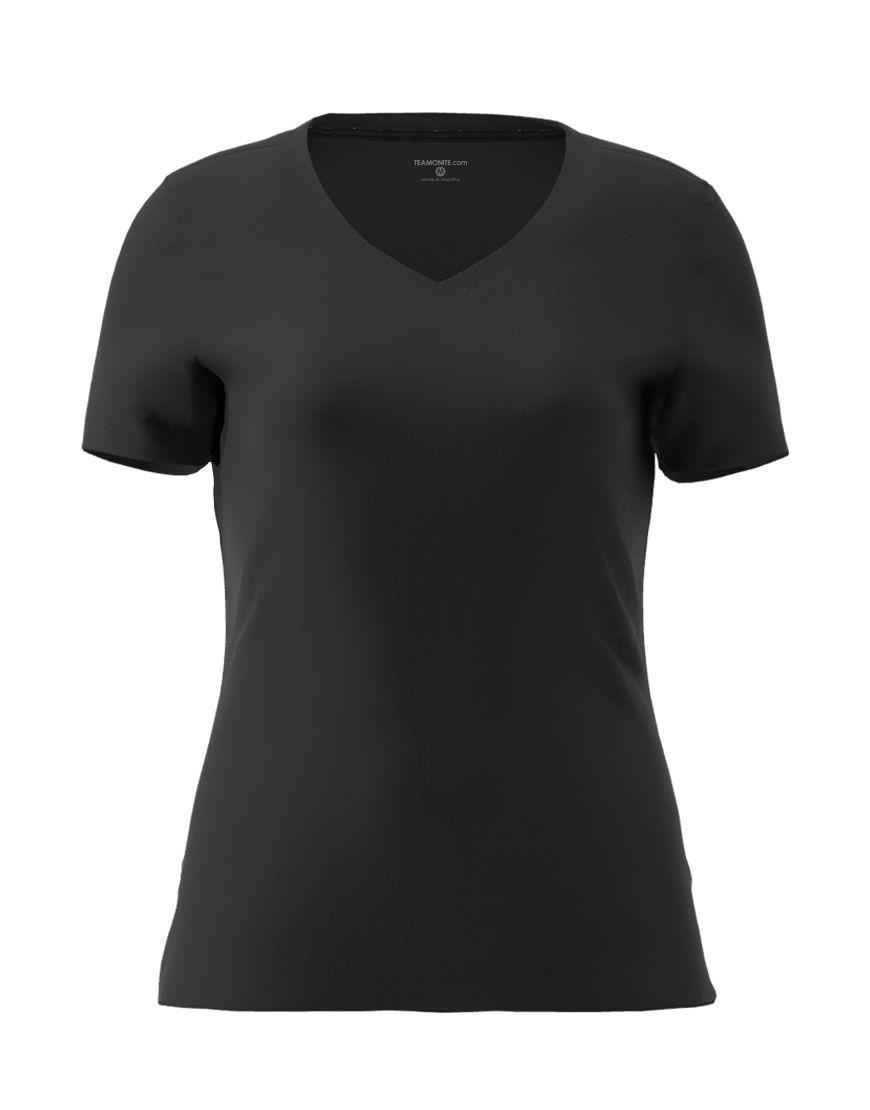 v neck women 3d t shirt black