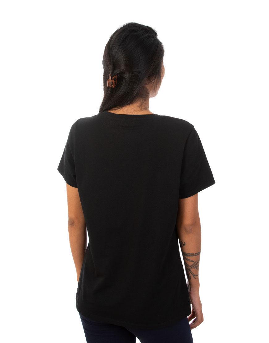 v neck women t shirt black back
