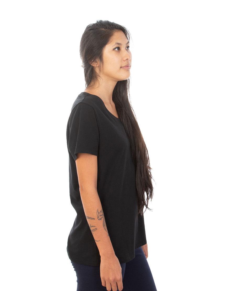 v neck women t shirt black right