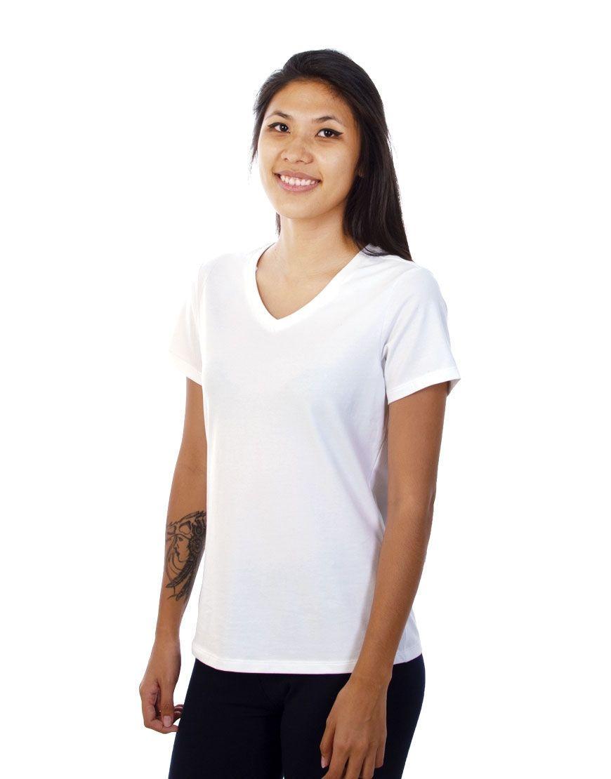 v neck women t shirt white front