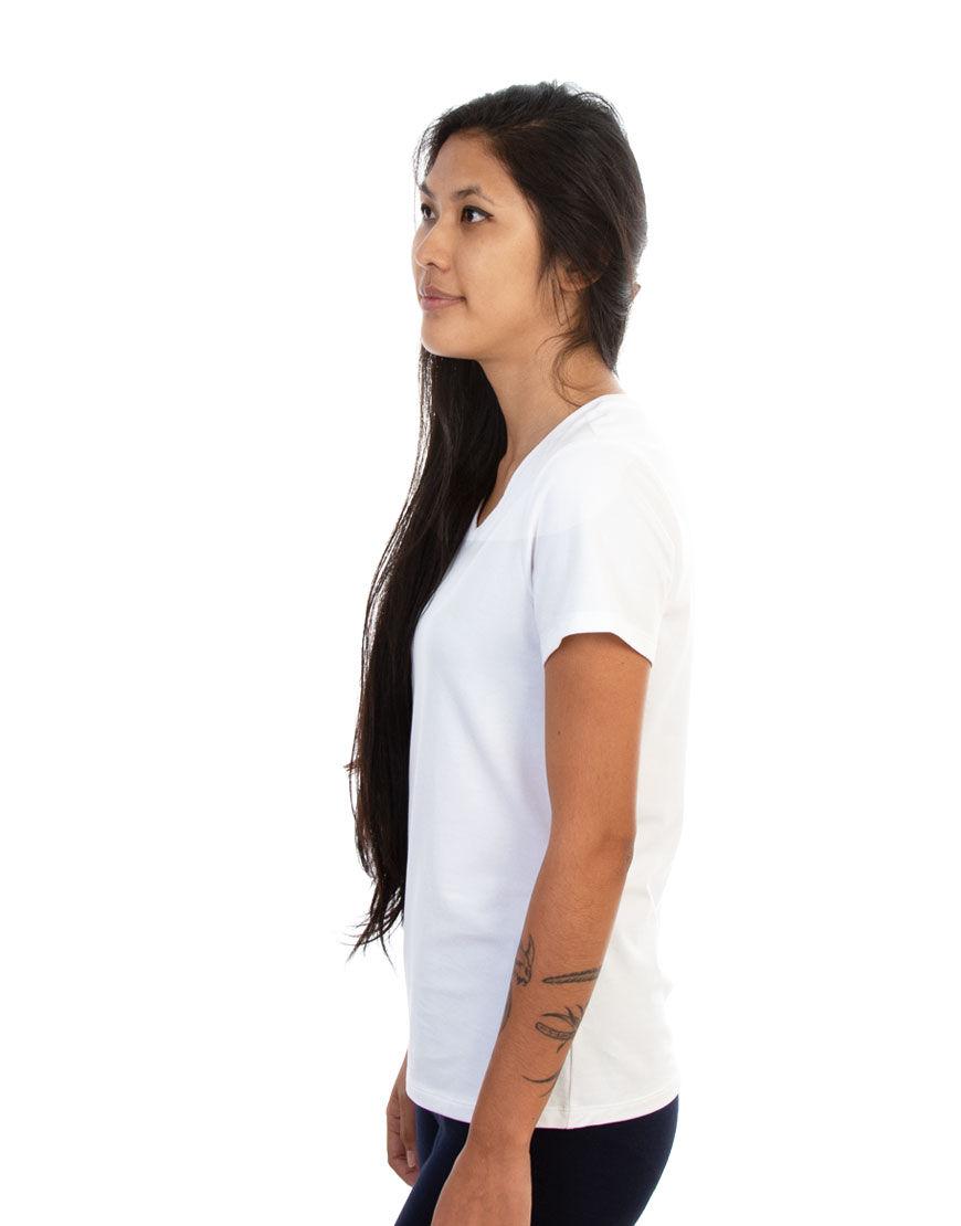 v neck women t shirt white left