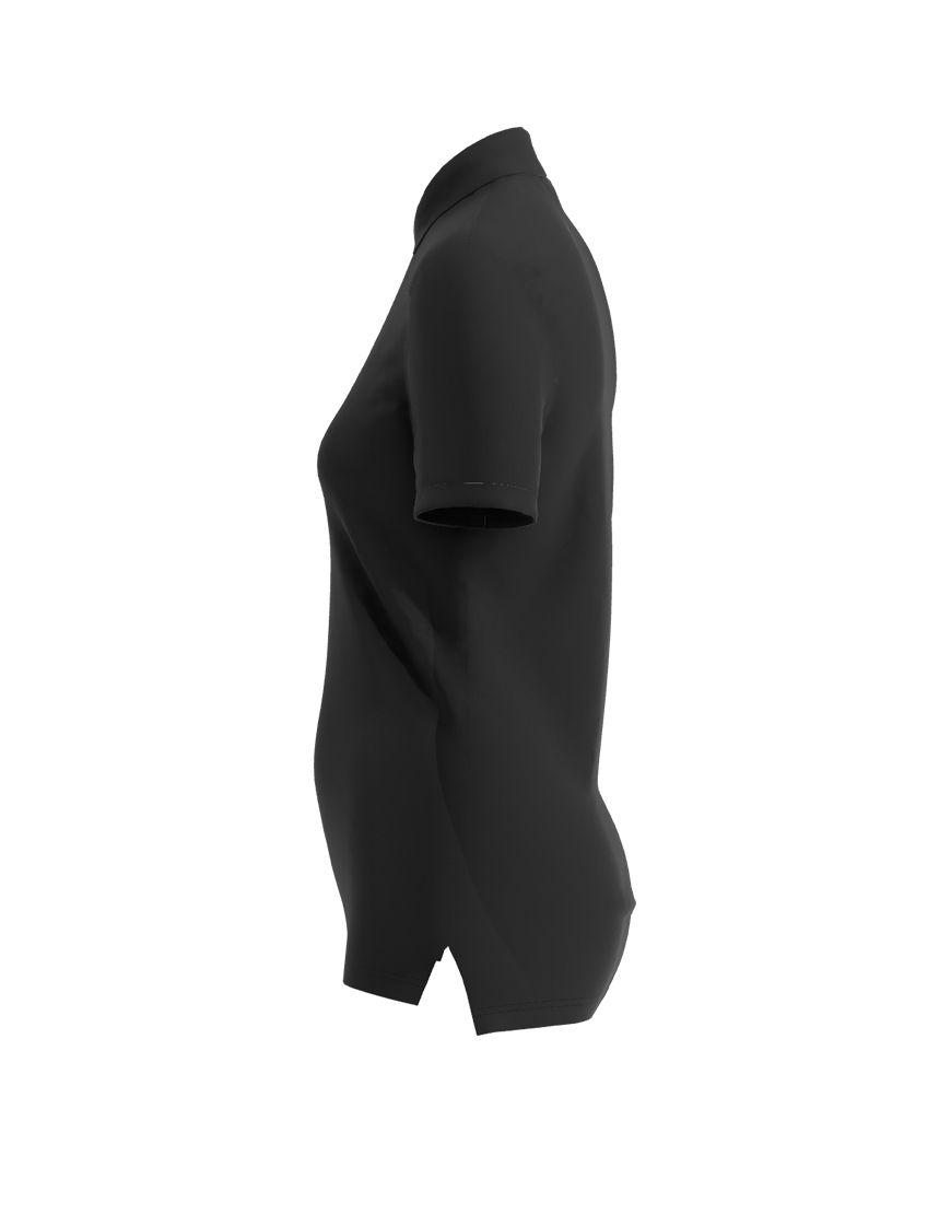 women polo with zipper 3d black left