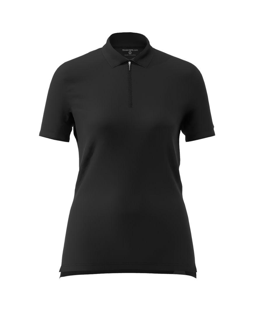 women polo with zipper 3d black