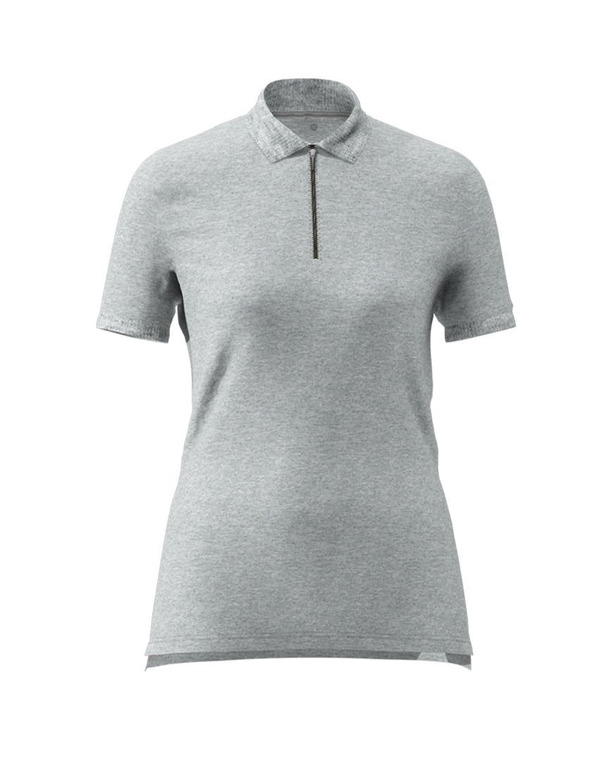 women polo with zipper 3d navy grey