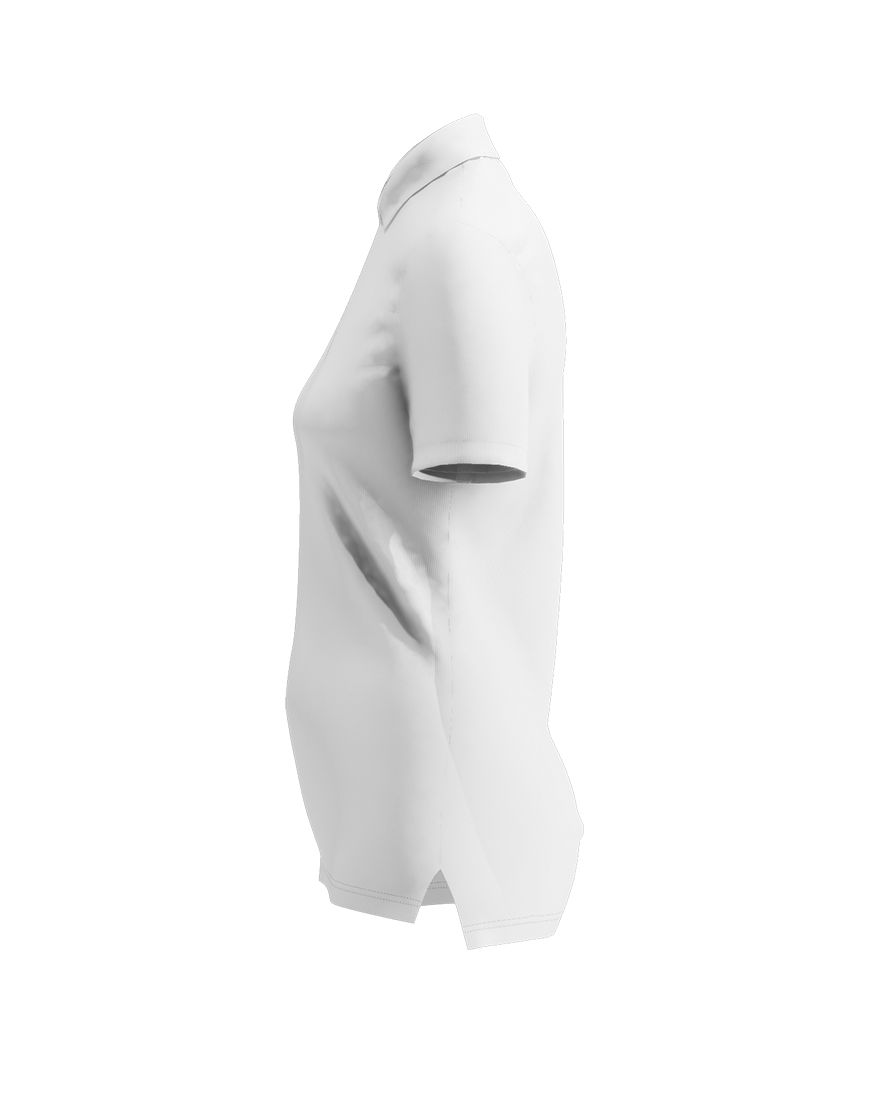 women polo with zipper 3d white right