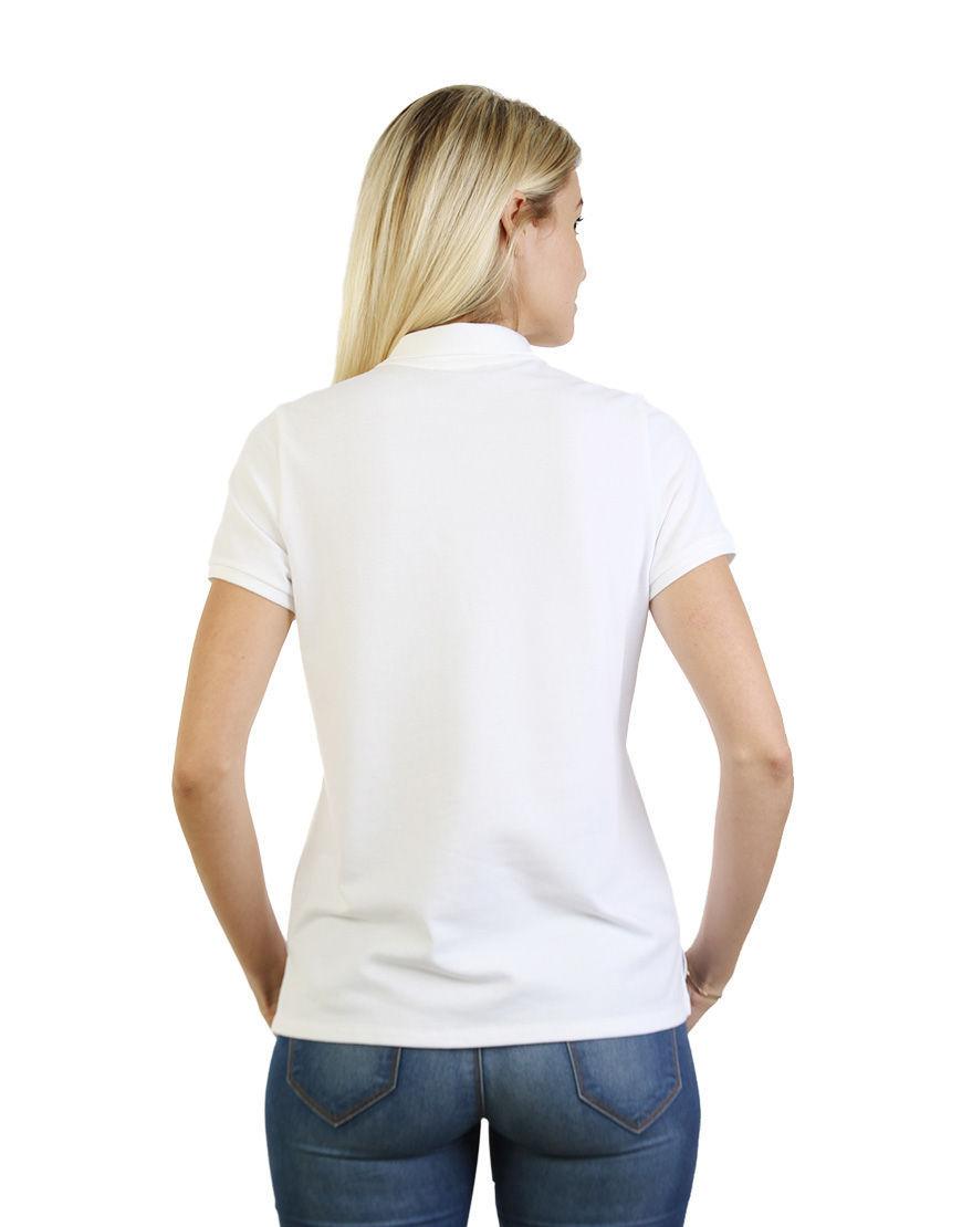 women polo with zipper white back