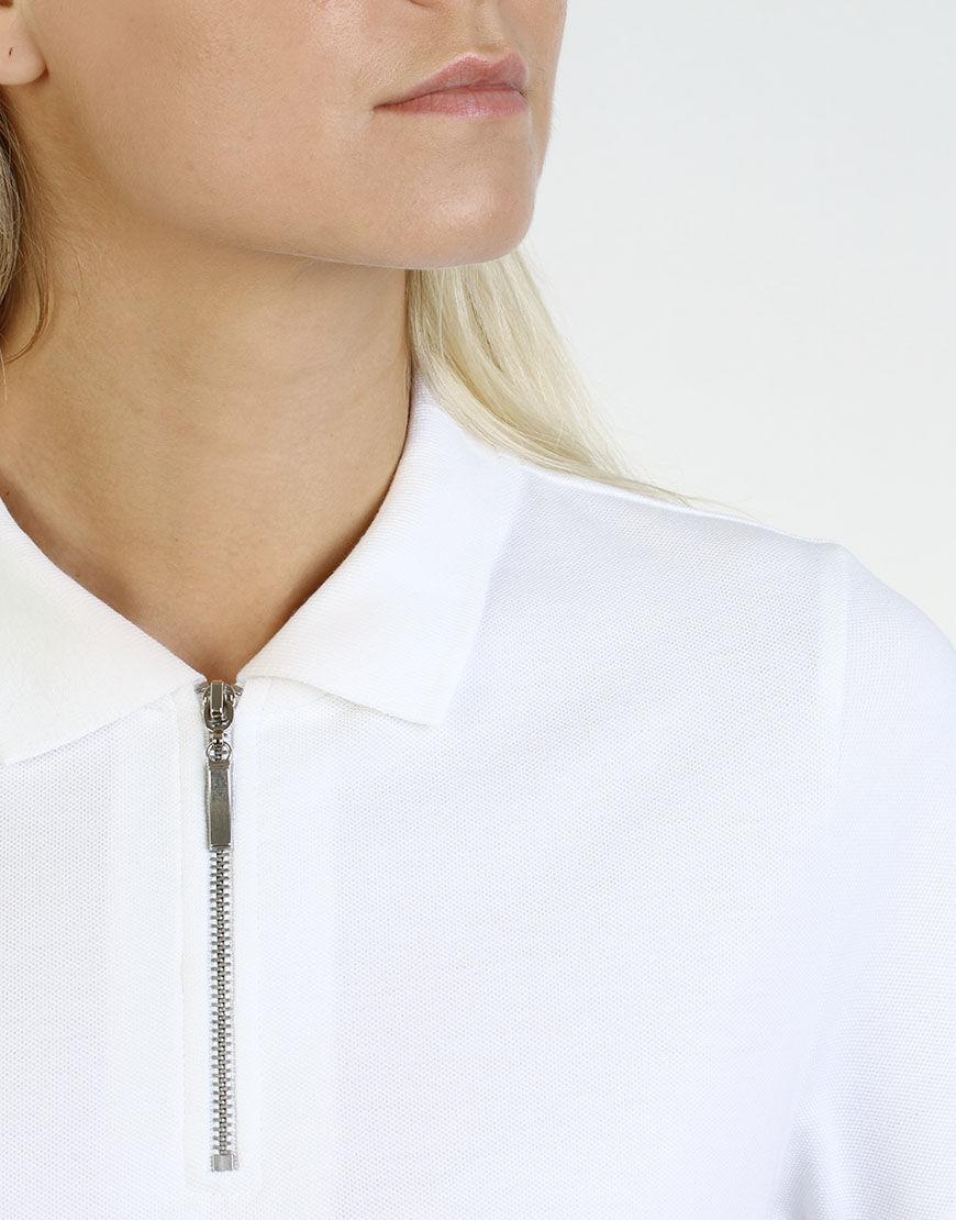 women polo with zipper white colar