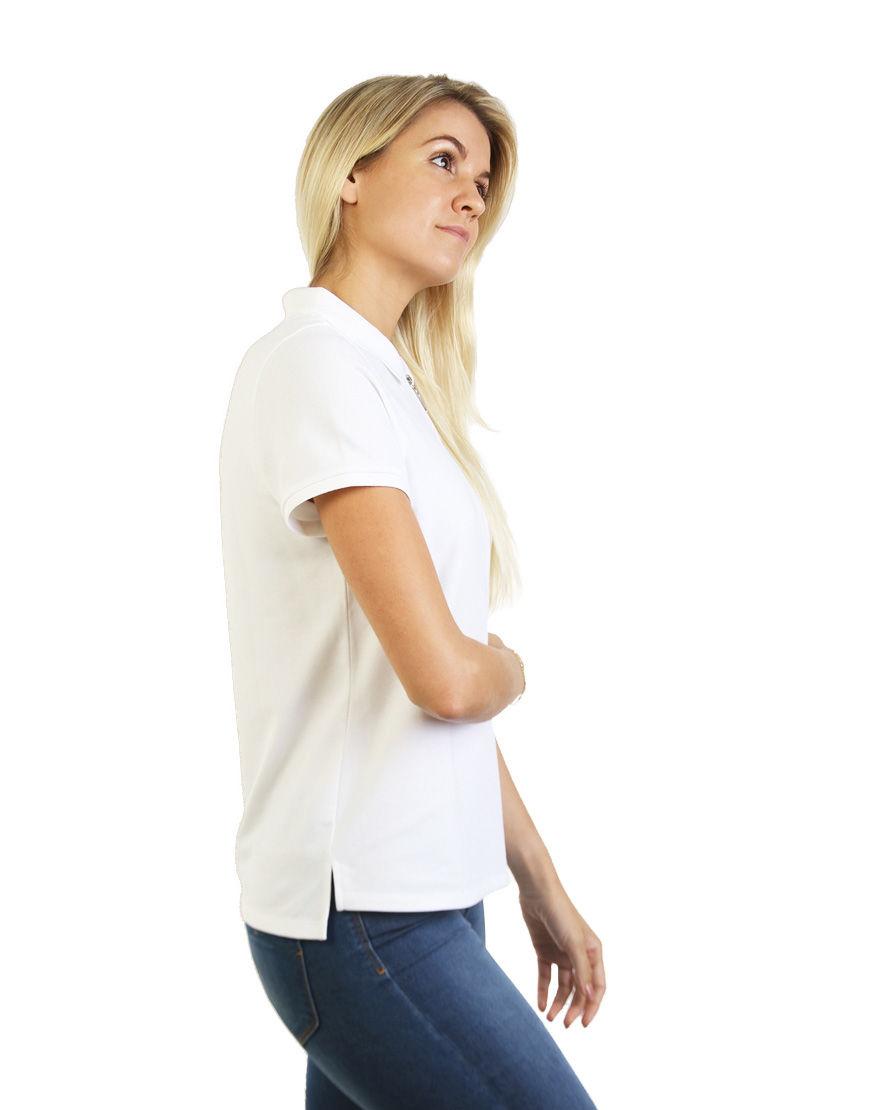 women polo with zipper white right