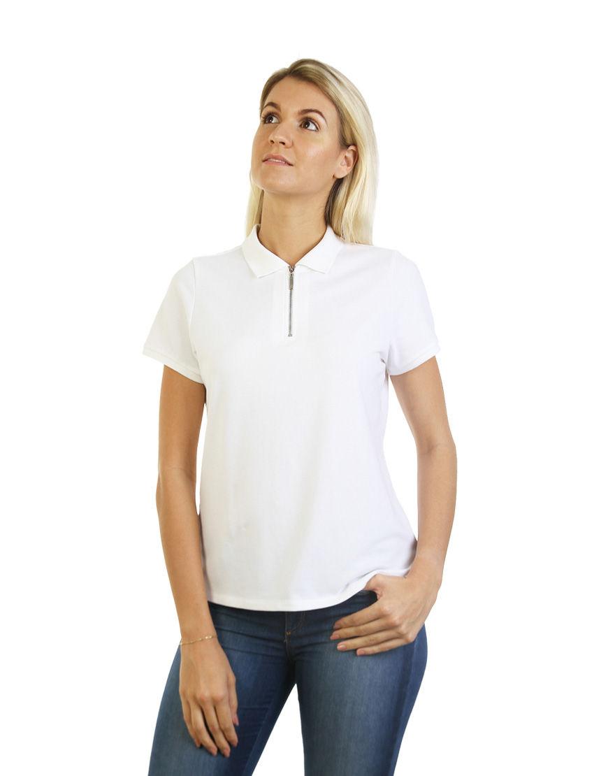 women polo with zipper white