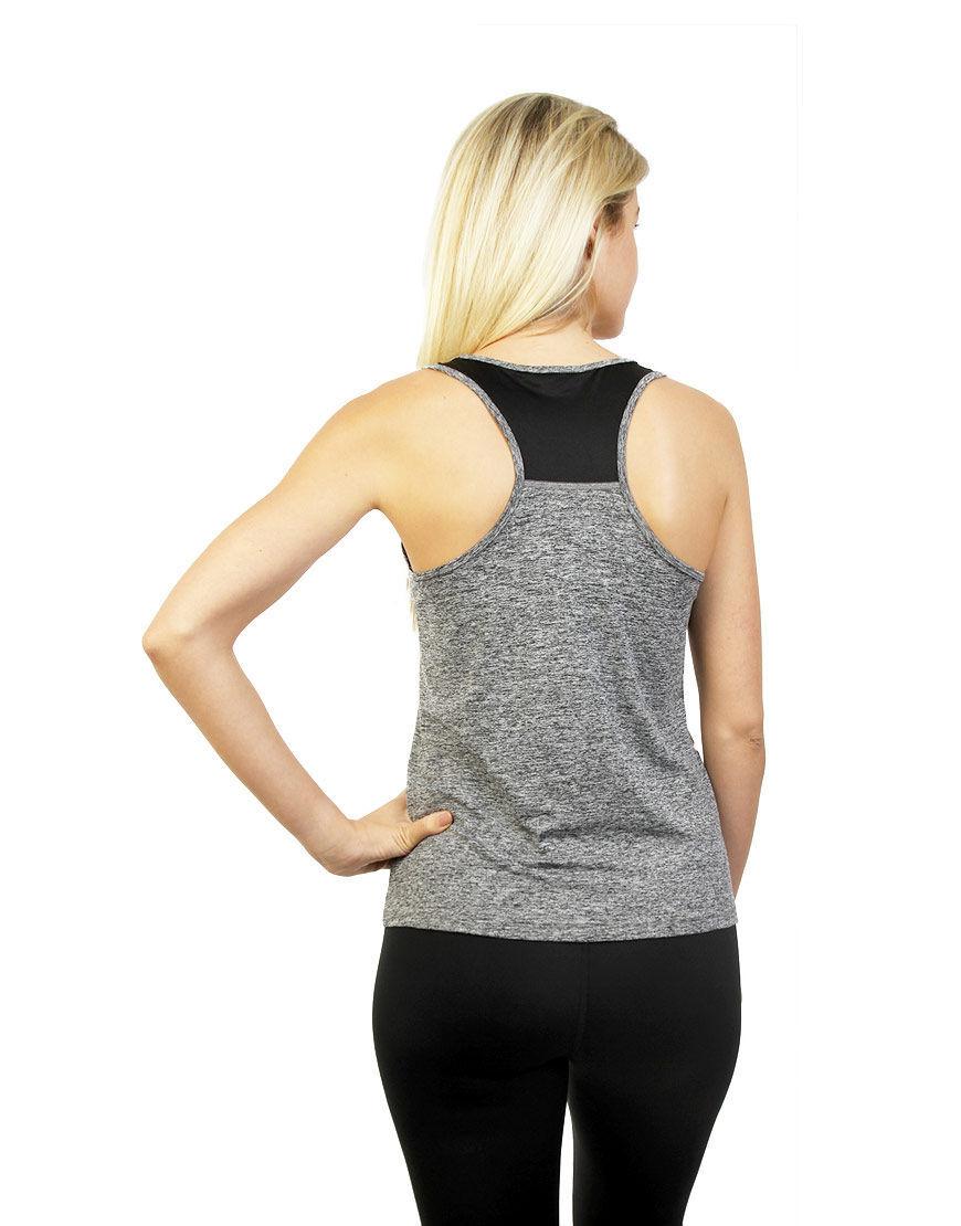 women racerback top grey back