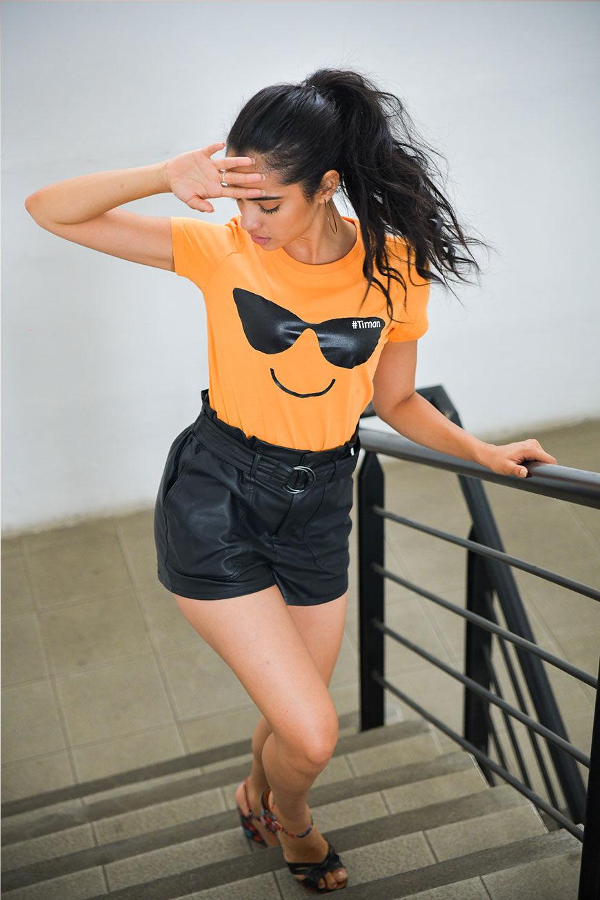 Women's Black Laksh Orange T-shirt Model 3
