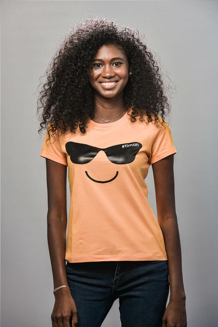Women's Black Laksh Orange T-shirt Model 1