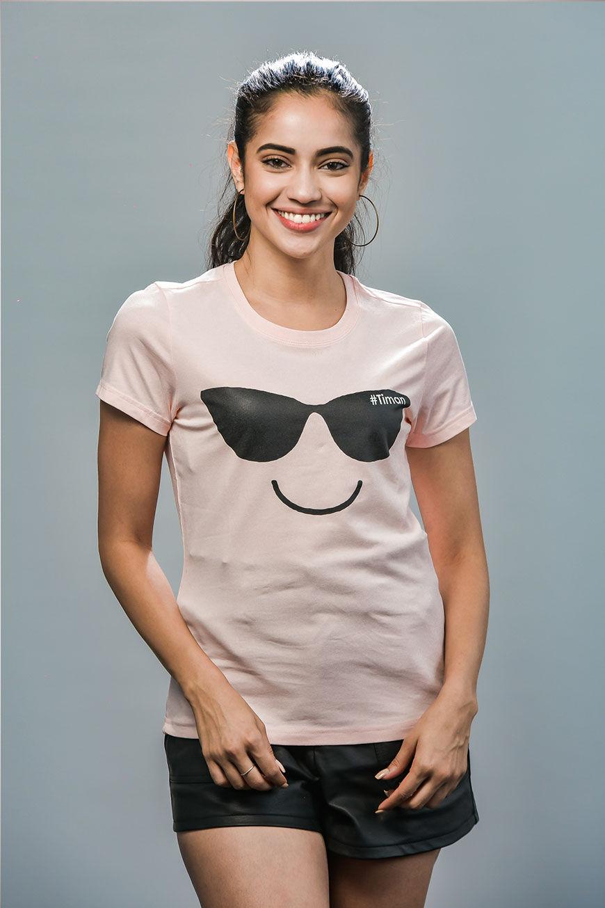 Women's Black Laksh Rose T-shirt Model 1