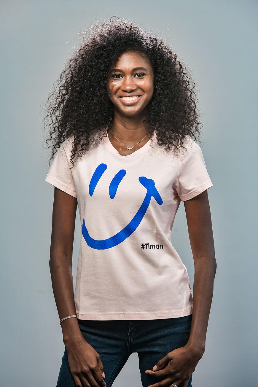 Women's Blue Luna Rose T-Shirt Model 1