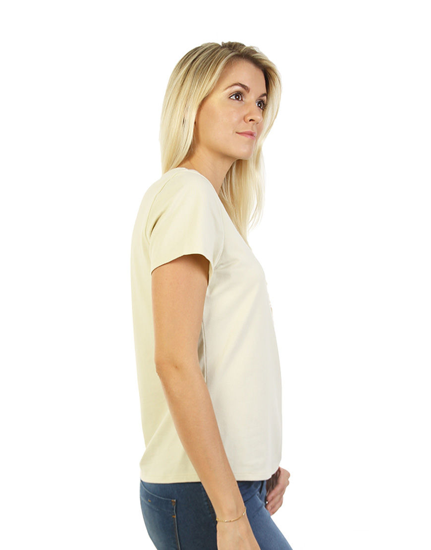 womens cotton stretch t shirt beige right