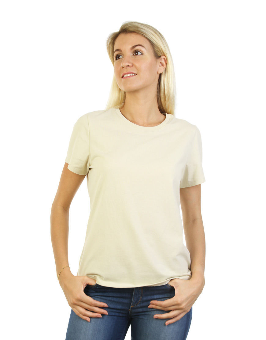 womens cotton stretch t shirt beige