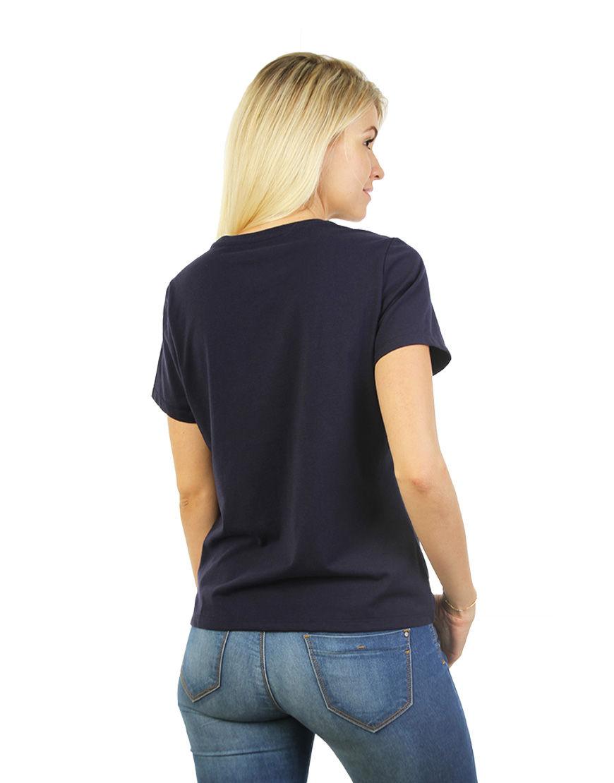 womens cotton stretch t shirt navy back