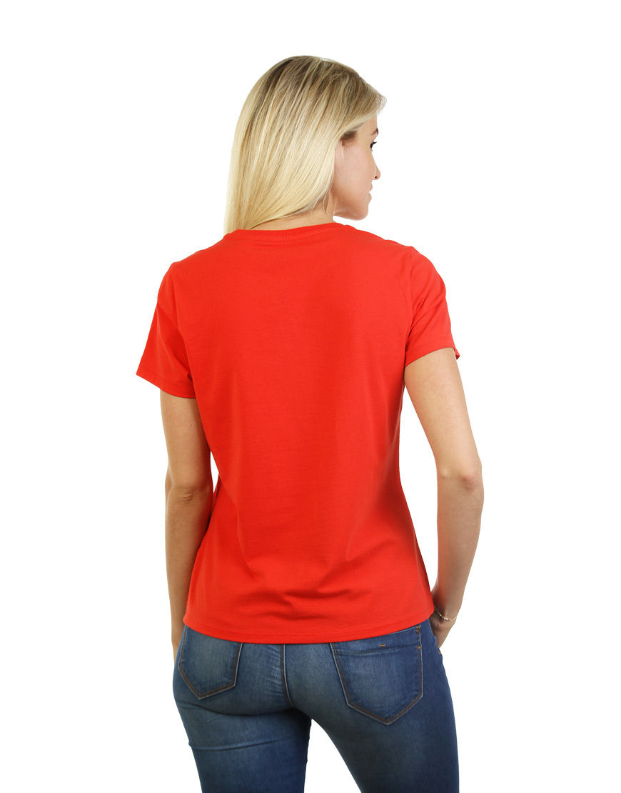womens cotton stretch t shirt red back