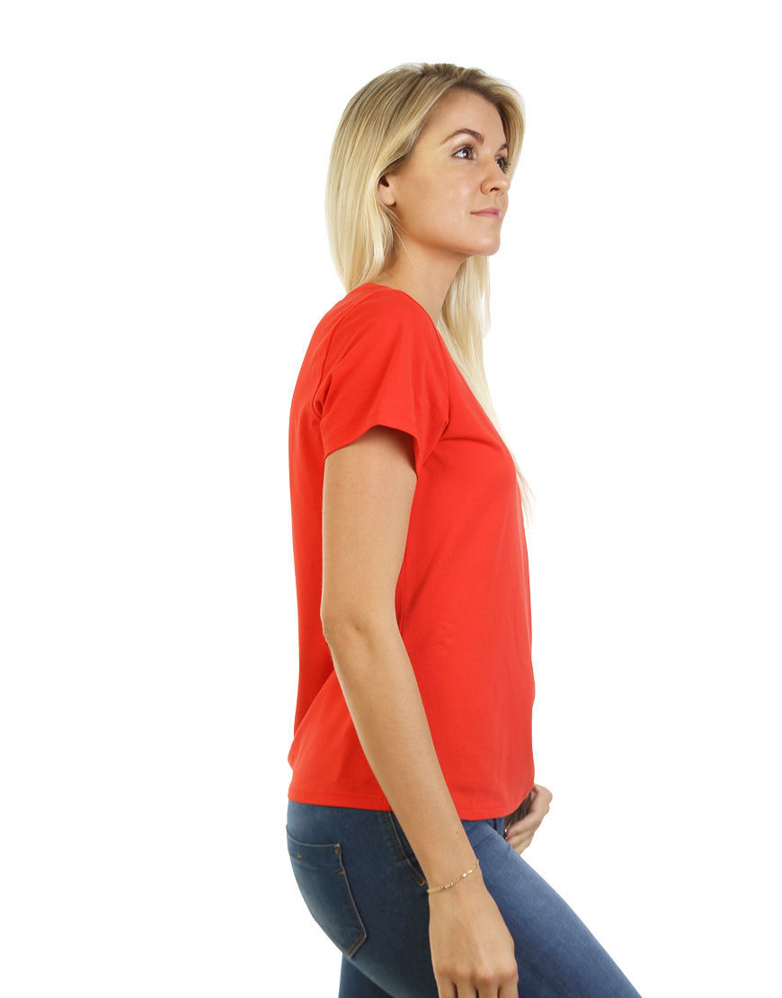 womens cotton stretch t shirt red side