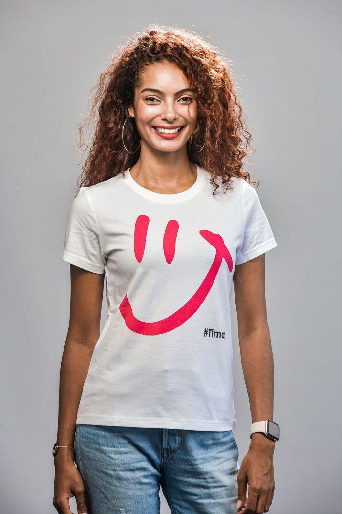 Women's Pink Luna White T-Shirt Model 2