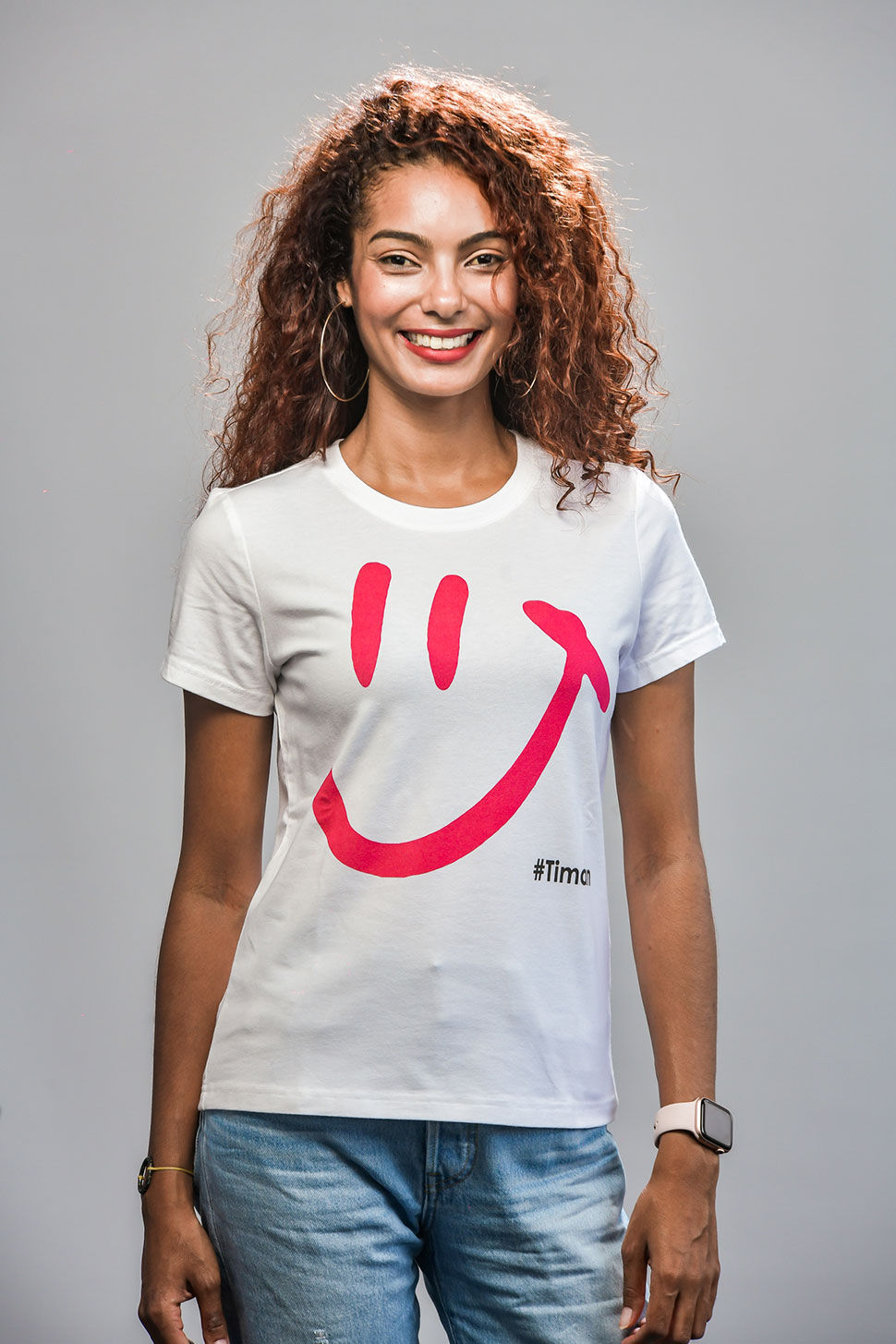 Women's Pink Luna White T-Shirt Model 2